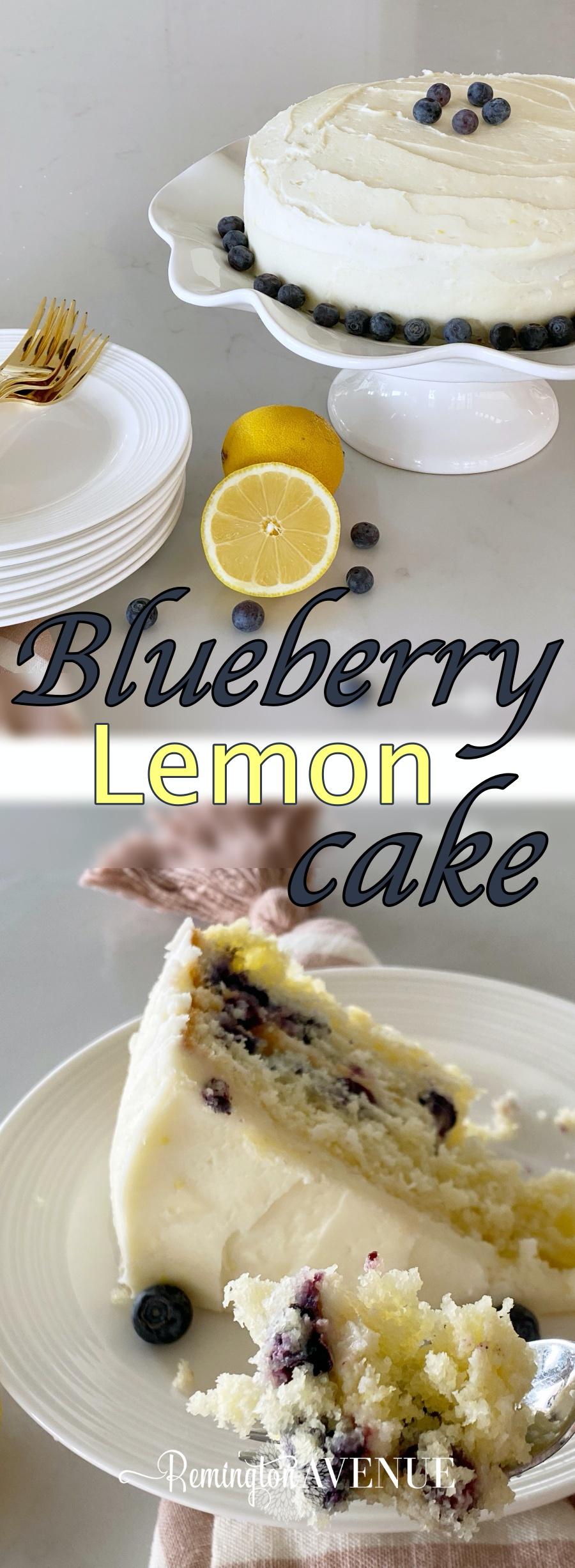 blueberry lemon cake with lemon buttercream frosting