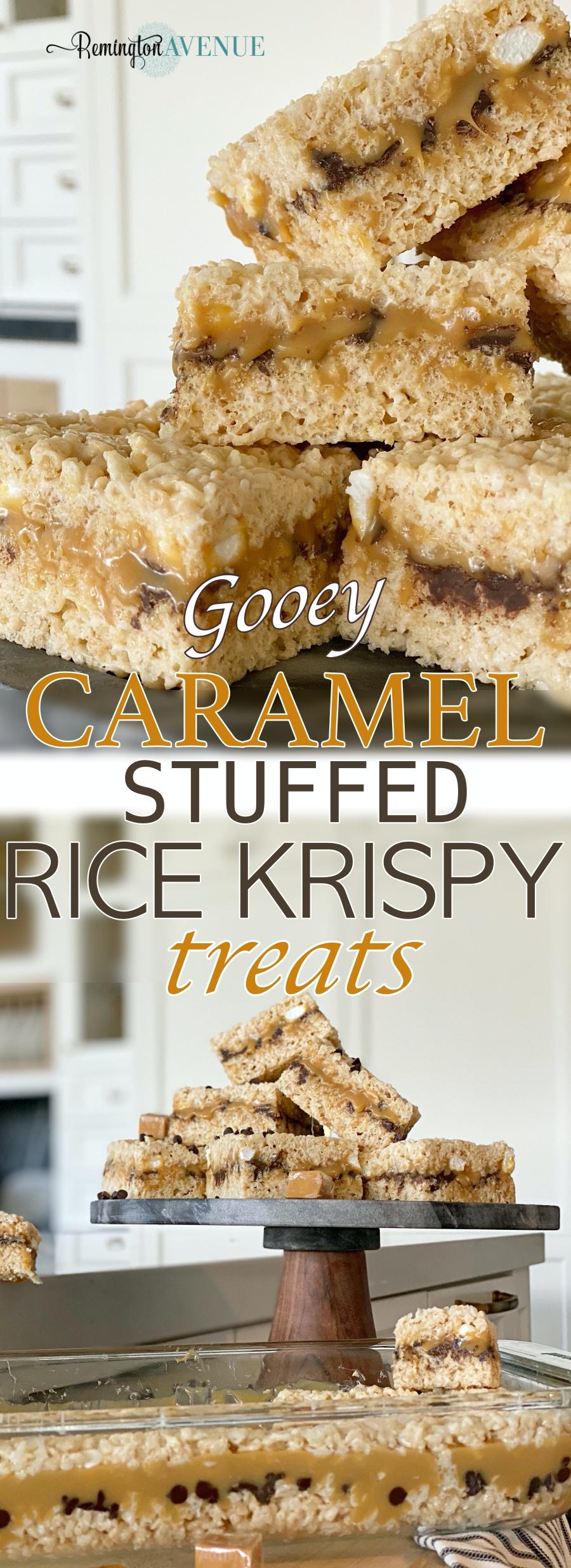 Caramel chocolate chip rice krispy treats