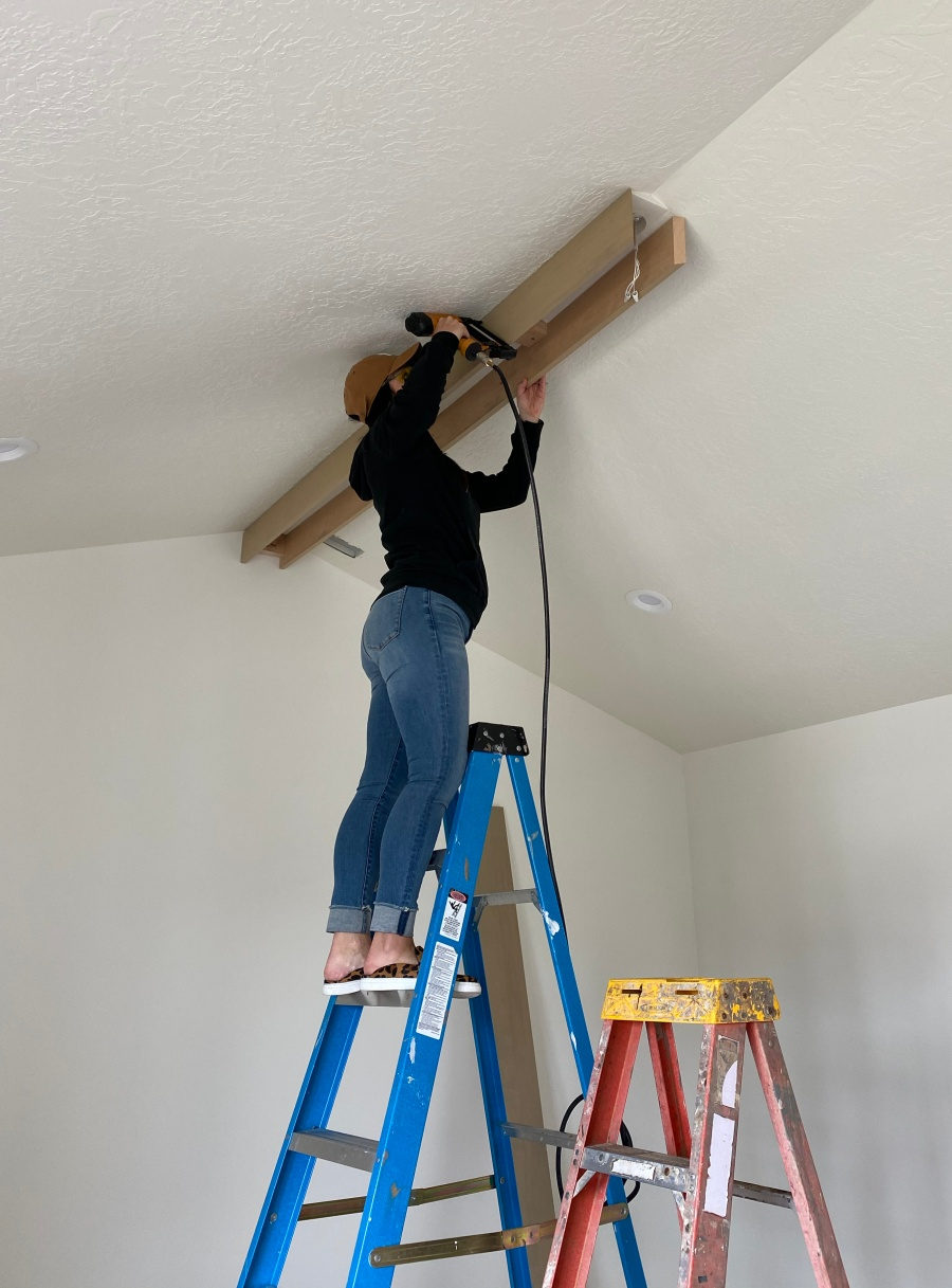 diy faux beams on a pitched ceiling