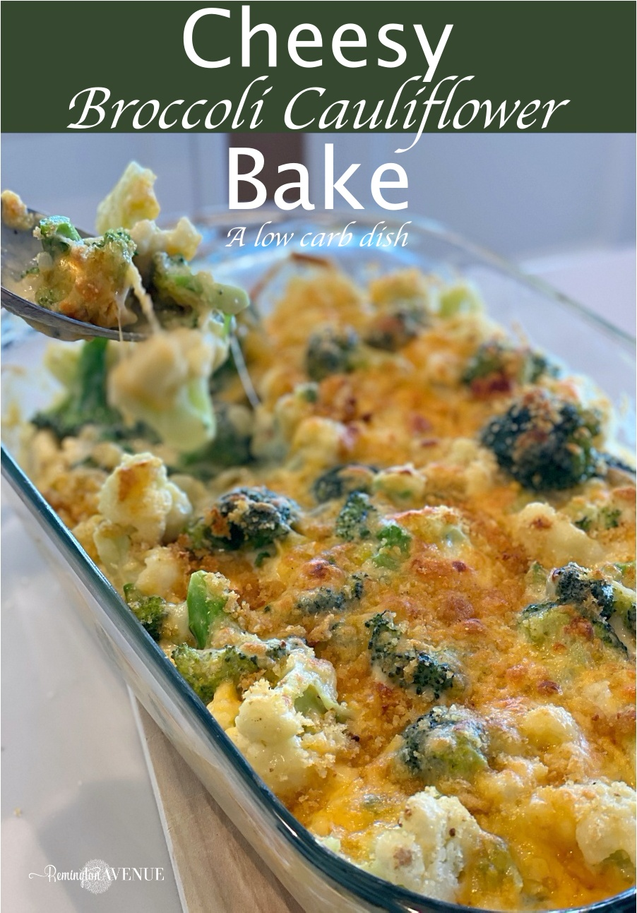Keto Broccoli cauliflower cheese bake