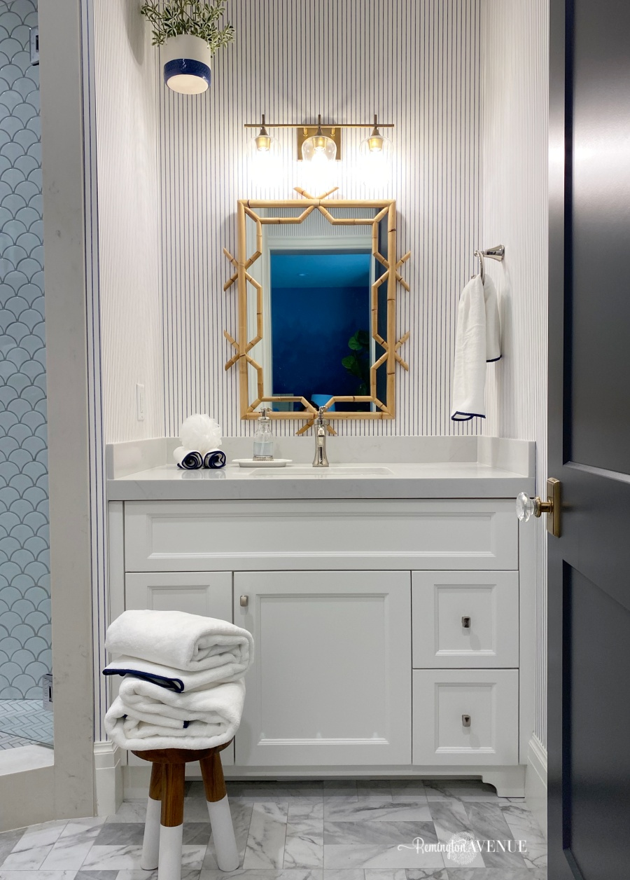 marble guest bathroom reveal