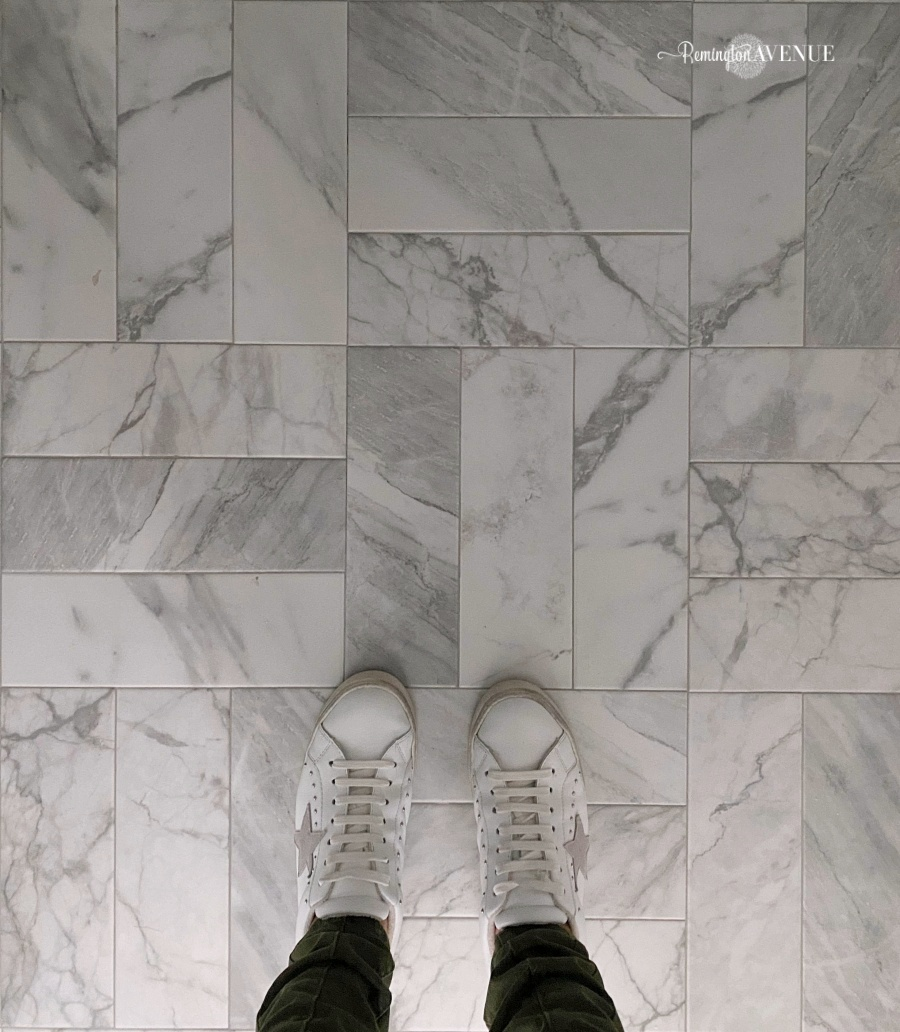 marble guest bathroom reveal with parquet floor