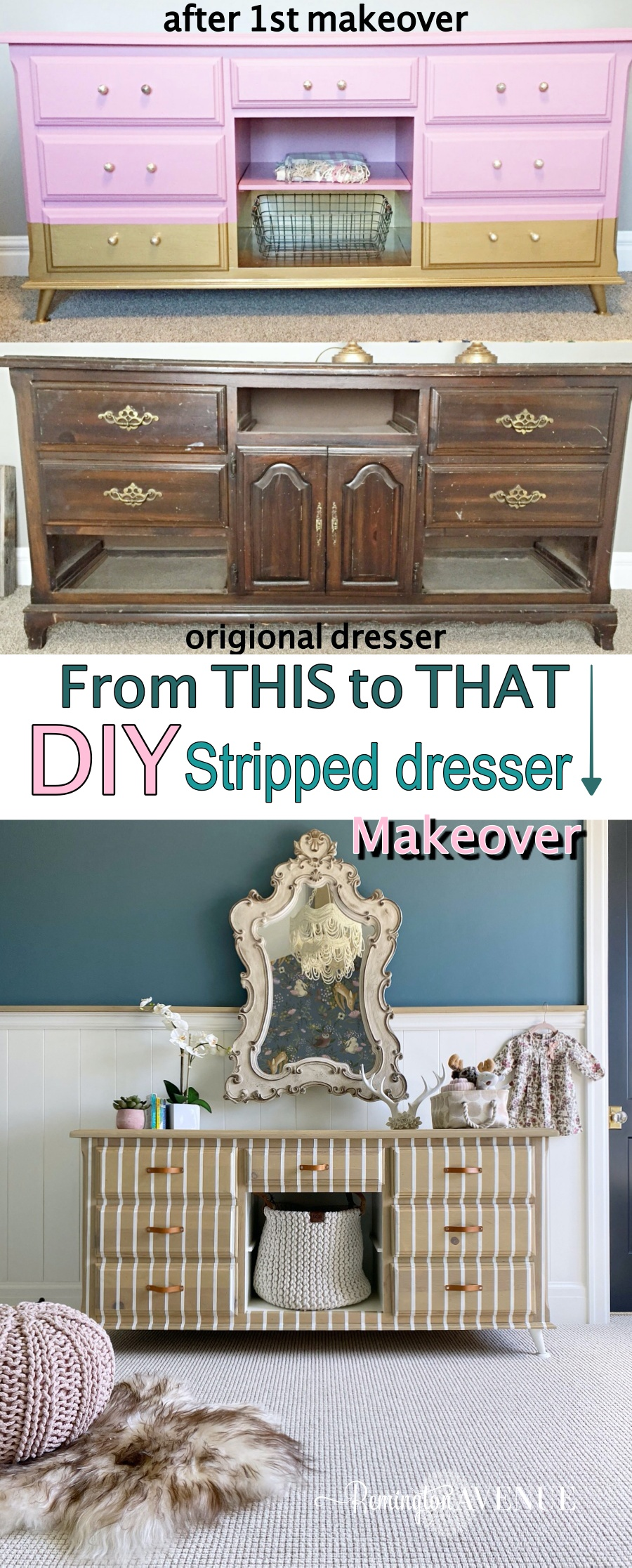DIY stripe dresser makeover