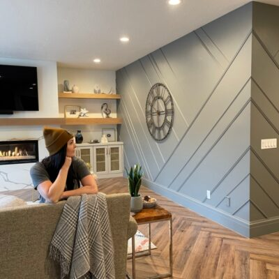 asymmetrical feature wall wrapped around a corner