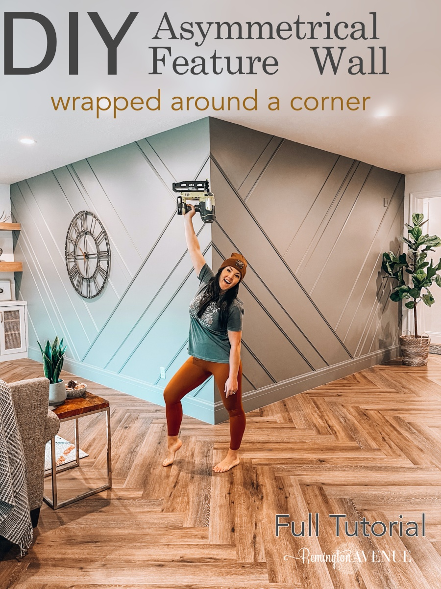 diy asymmetrical feature wall wrapped around a corner