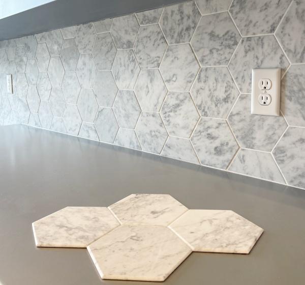 Peel & Stick Marble Tile Backsplash