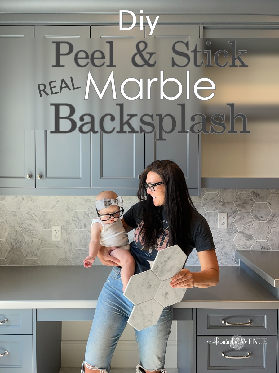 peel and stick real marble tile backsplash