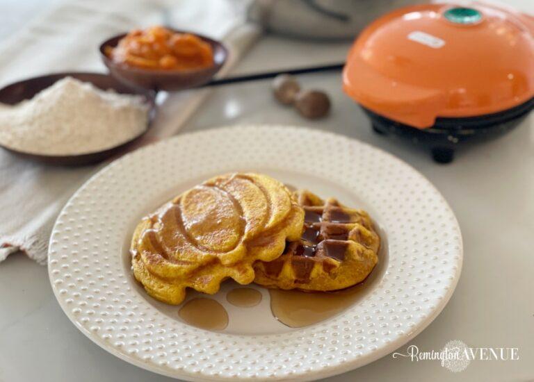 Healthy Pumpkin Mini Waffles